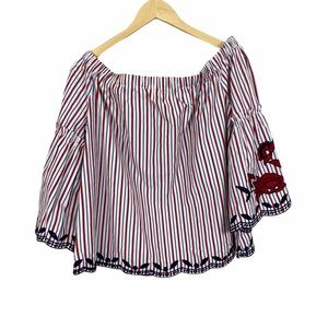 INA red, blue striped embroidered off shoulder top